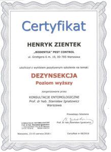 certyfikat dezynsekcja HZ pw